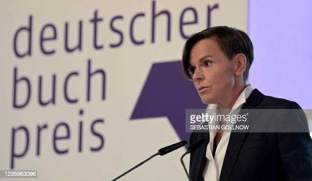 """Antje Ravik Strubel, author of the novel """"Blaue Frau"""" speaks on stage after being awarded with the German Book Prize 2021 in Frankfurt am Main,..."""
