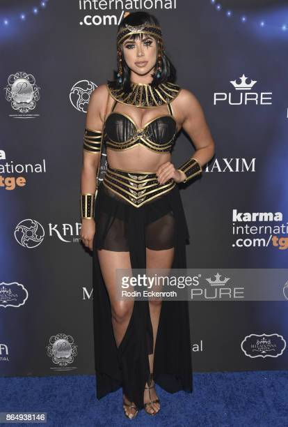 Antje Utgaard arrives at the 2017 MAXIM Halloween Party at LA Center Studios on October 21, 2017 in Los Angeles, California.