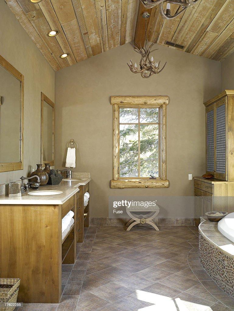 Antler Chandeliers In Bathroom Stock Photo | Getty Images