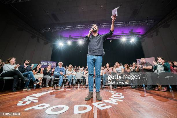 Antón GómezReino attends a rally of Podemos in Palexco A Coruña on November 3 2019 in A Coruna Spain