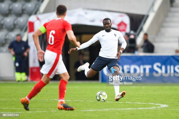 Anto Grgic of Switzerland and Tanguy Ndombele of France during the Friendly match between Switzerland and France on May 25 2018 in Biel Switzerland