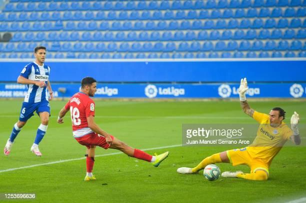 Antoñin Cortes of Granada CF scores his team's first goal during the Liga match between Deportivo Alaves and Granada CF at Estadio de Mendizorroza on...
