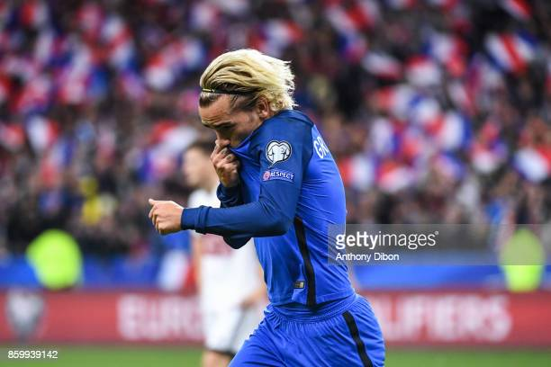 Antoin Griezmann of France celebrates his goal during the Fifa 2018 World Cup qualifying match between France and Belarus on October 10 2017 in Paris...