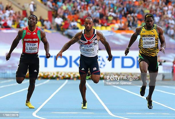 Antoine Adams of Saint Kitts and Nevis James Ellington of Great Britain and Jason Livermore of Jamaica competes in the Men's 200 metres semi finals...