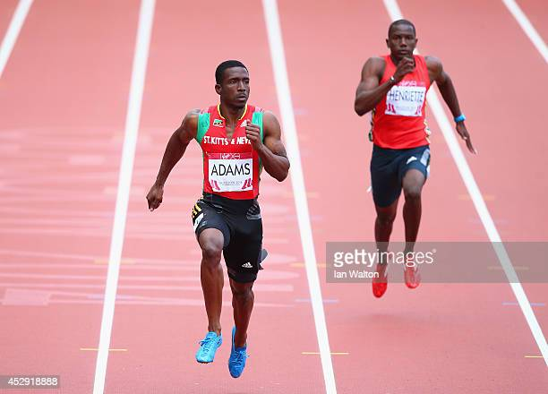 Antoine Adams of St Kitts and Nevis competes in the Men's 200 metres heats at Hampden Park during day seven of the Glasgow 2014 Commonwealth Games on...