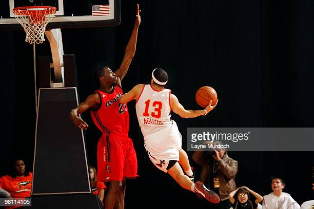 Antoine Agudio of the Albuquerque Thunderbirds hits the game winning shot against Yemi Ogunoye of the Idaho Stampede during the NBA DLeague game on...