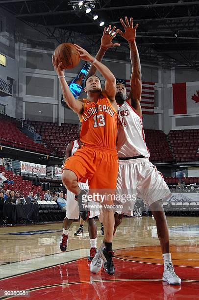 Antoine Agudio of the Albuquerque Thunderbirds puts up a shot against Mickell Gladness of the Rio Grande Valley Vipers during the D-League game on...