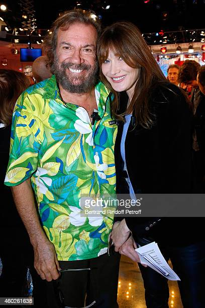 Antoine and main guest of the show Carla Bruni attend the 'Vivement Dimanche' French TV at Pavillon Gabriel on December 10 2014 in Paris France