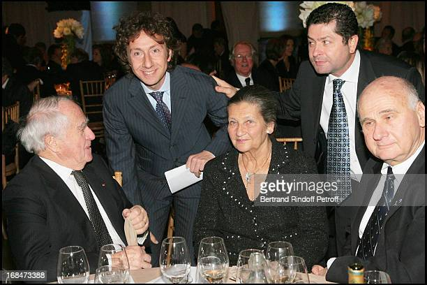 Antoine and Simone Veil with their child and Menachem Magidor and Patrick Bruel at The Gala Scopus Award 2007 Organised By L' Universite Hebraique De...