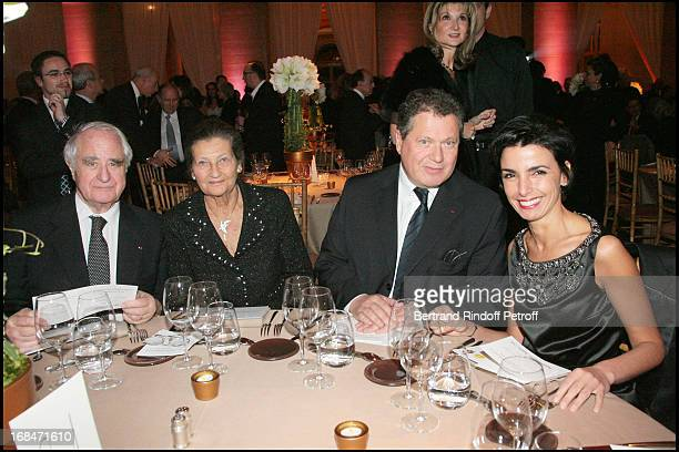 Antoine and Simone Veil with their child and Rachida Dati at The Gala Scopus Award 2007 Organised By L' Universite Hebraique De Jerusalem At Palais...