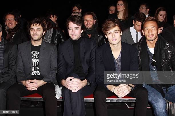 Antoine Arnaud actor Douglas Booth and soccer player Hidetoshi Nakata attend the 'Louis Vuitton Menswear Paris Fashion week' at Halle Freyssinet on...