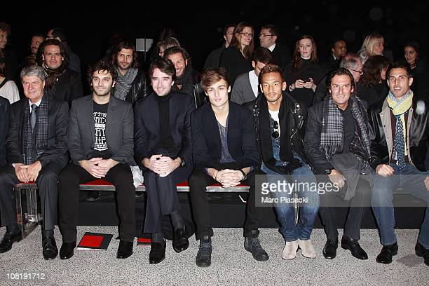 Antoine Arnaud actor Douglas Booth soccer player Hidetoshi Nakata and US soccer player Carlos Bocanegra attend the 'Louis Vuitton Menswear Paris...