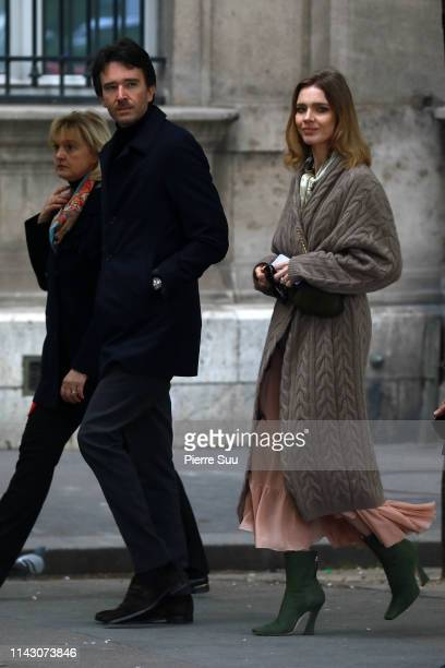 Antoine Arnault an Natalia Vodianova leave the site of NotreDame Cathedral following a major fire yesterday on April 16 2019 in Paris France A fire...