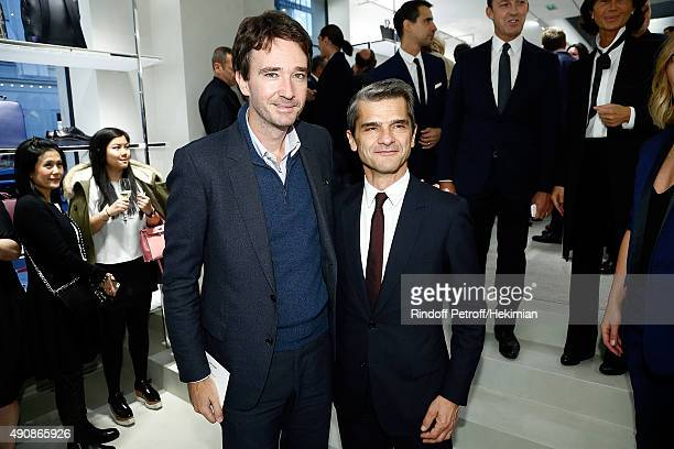 Antoine Arnault and COO Christian Dior Serge Brunschwig attend the inauguration cocktail for the opening of Dior Homme Boutique on October 1 2015 in...