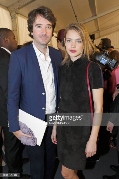 Antoine Arnault and his companion Natalia Vodianova pose backstage following the Louis Vuitton Fall/Winter 2013 ReadytoWear show as part of Paris...