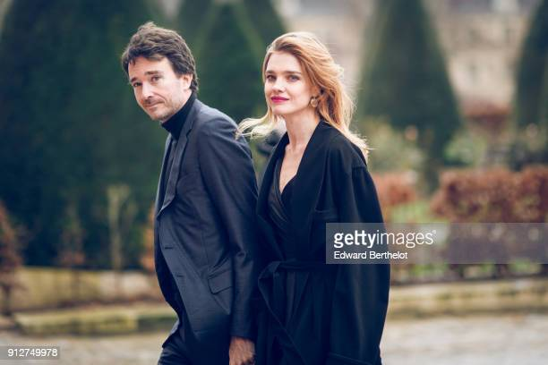 Antoine Arnault and Natalia Vodianova outside Dior during Paris Fashion Week Haute Couture Spring/Summer 2018 on January 22 2018 in Paris France