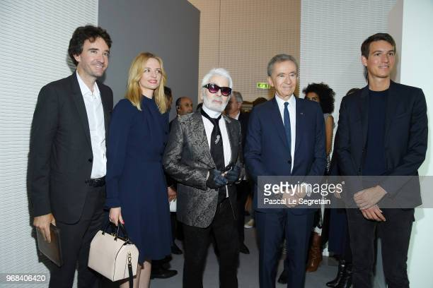 Antoine Arnault Delphine Arnault Karl Lagerfeld Bernard Arnault and Alexandre Arnault attend the LVMH Prize 2018 Edition at Fondation Louis Vuitton...