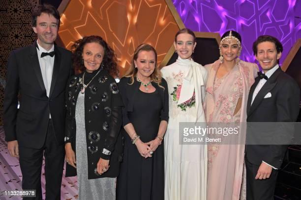 Antoine Arnault, Diane von Furstenberg, Caroline Scheufele, Natalia Vodianova, Sonam Kapoor and Edgardo Osorio attend the Fashion Trust Arabia Prize...