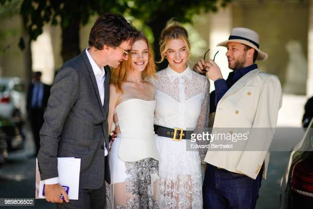 Antoine Arnault Natalia Vodianova Karlie Kloss after the Dior show during Paris Fashion Week Haute Couture Fall Winter 2018/2019 on July 2 2018 in...