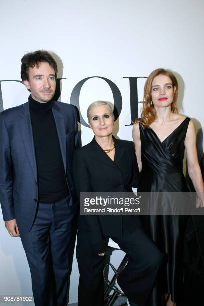 Antoine Arnault Stylist Maria Grazia Chiuri and Natalia Vodianova pose after the Christian Dior Haute Couture Spring Summer 2018 show as part of...