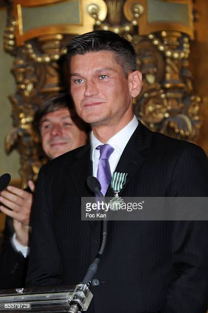 Antoine Baduel from FG Radio and DJ Martin Solveig attend the DJ Martin Solveig and Antoine Baduel receive the Chevalier des Arts et des Lettres...