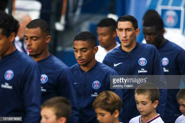 Antoine Bernede and Colin Dagba of PSG during the French Ligue 1 match between Paris Saint Germain and Caen at Parc des Princes on August 12 2018 in...
