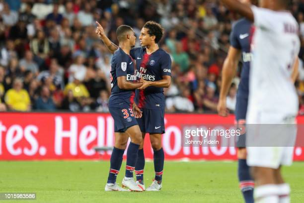 Antoine Bernede and Marquinhos of PSG during the French Ligue 1 match between Paris Saint Germain and Caen at Parc des Princes on August 12 2018 in...