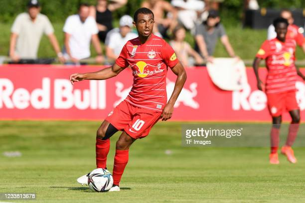 Antoine Bernede of FC Red Bull Salzburg controls the ball during the Friendly match between RB Salzburg and AS Monaco at Sportzentrum Anif on July 3,...