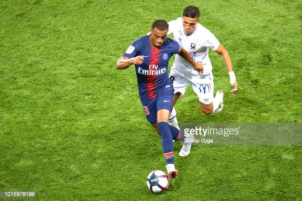 Antoine Bernede of Paris Saint Germain and Faycal Fajr of SM Caen during the French Ligue 1 match between Paris Saint Germain and Caen at Parc des...