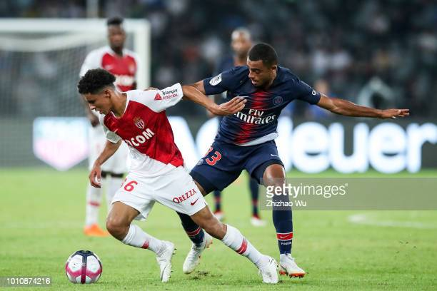 Antoine Bernede of Paris Saint Germain and Sofiane Diop of Monaco in action during the match between Paris Saint Germain and Monaco at Shenzhen...
