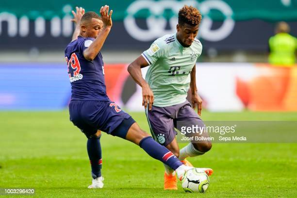 Antoine Bernede of Paris St Germain and Kingsley Coman of FC Bayern Muenchen during the AUDI Football Summit match between Bayern Muenchen and Paris...