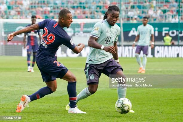 Antoine Bernede of Paris St Germain and Renato Sanches of FC Bayern Muenchen during the AUDI Football Summit match between Bayern Muenchen and Paris...