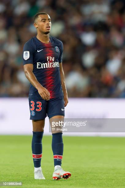Antoine Bernede of Paris St Germain looks on during the Ligue 1 match between Paris SaintGermain and SM Caen at Parc des Princes on August 12 2018 in...