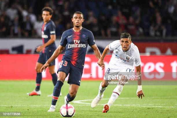 Antoine Bernede of PSG and Faycal Fajr of Caen during the French Ligue 1 match between Paris Saint Germain and Caen at Parc des Princes on August 12...