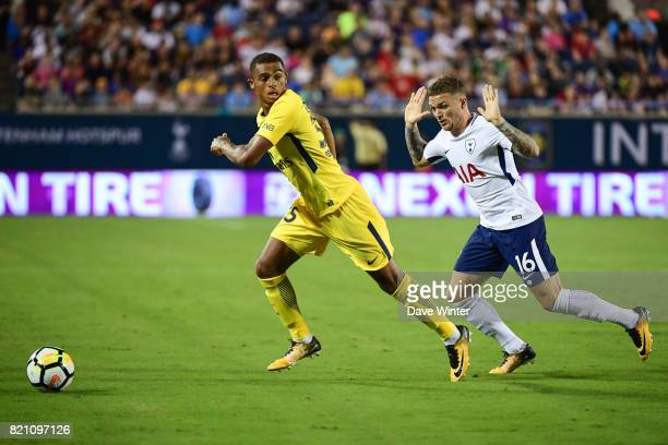 Antoine Bernede of PSG and Kieran Trippier of Spurs during the International Champions Cup match between Paris Saint Germain and Tottenham Hotspur on...