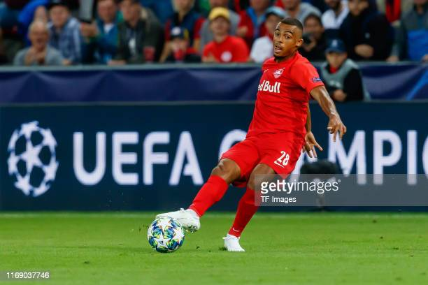 Antoine Bernede of RB Salzburg controls the ball during the UEFA Champions League group E match between RB Salzburg and KRC Genk at Red Bull Arena on...