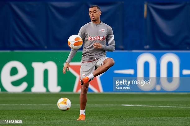 Antoine Bernede of RB Salzburg during the warm-up before the UEFA Europa League Round of 32 match between Villarreal CF and RB Salzburg at Estadio de...