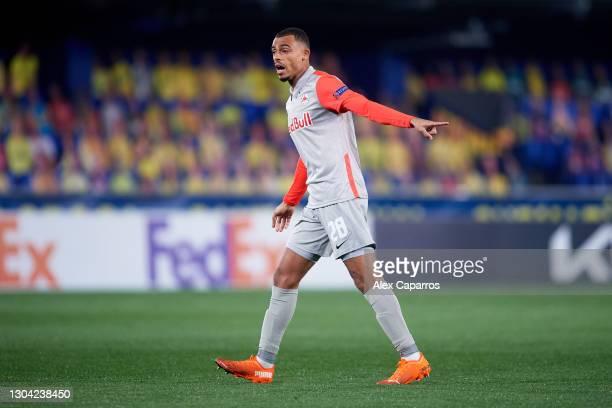 Antoine Bernede of RB Salzburg points during the UEFA Europa League Round of 32 second leg match between Villarreal CF and RB Salzburg at Estadio de...