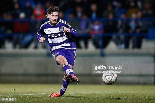 Antoine Bernier of Anderlecht shoots and scores a goal during the UEFA Youth League Quarterfinal match between Anderlecht and Barcelona held at Van...