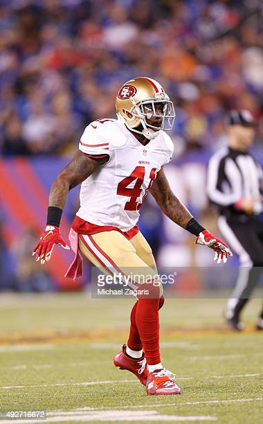 Antoine Bethea of the San Francisco 49ers defends during the game against the New York Giants at MetLife Stadium on October 11 2015 in East...