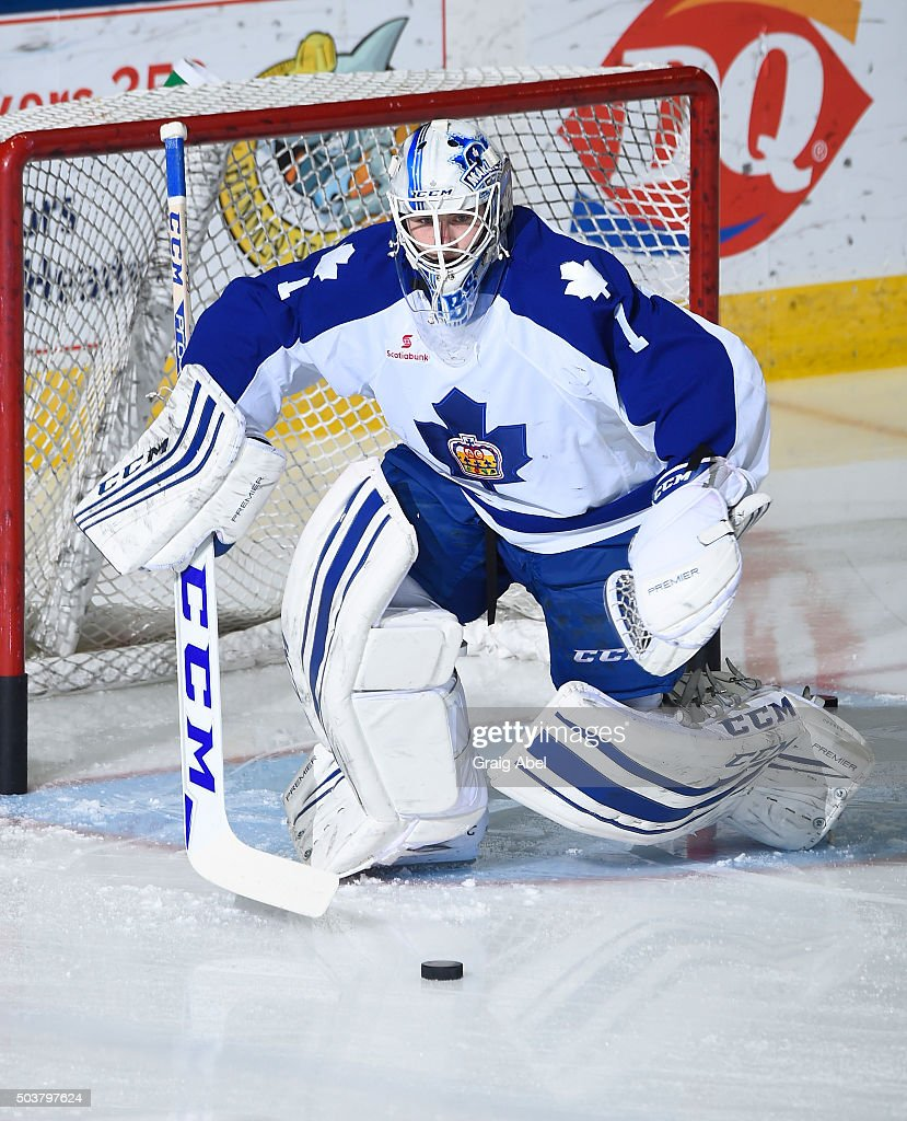 Antoine Bibeau #1 of the Toronto Marlies skates in warmup prior to a game against the Syracuse Crunch during AHL game action on January 3, 2016 at Ricoh Coliseum in Toronto, Ontario, Canada.