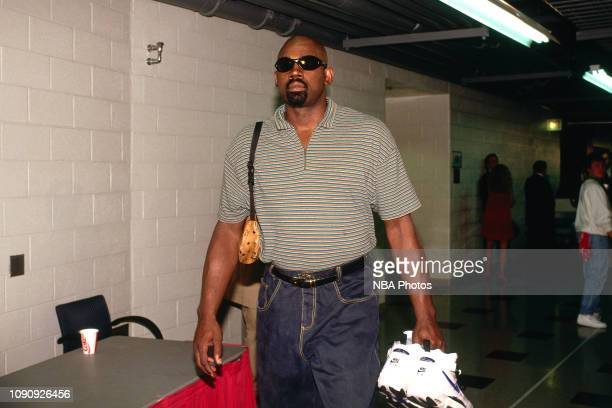 Antoine Carr of the Utah Jazz arrives to the game against the Chicago Bulls in Game One of the NBA Finals on June 1 1997 at United Center in Chicago...