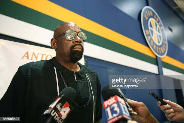 Antoine Carr of the Utah Jazz during speaks to the press during a press interview about the 1997 Reunited Western Conference Champs at Zions Bank...