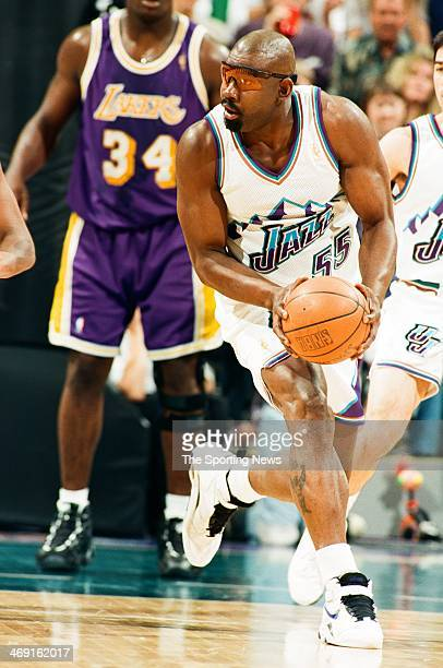 Antoine Carr of the Utah Jazz during the game against the Los Angeles Lakers on May 4 1997 at the Delta Center in Salt Lake City Utah