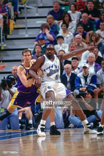 Antoine Carr of the Utah Jazz posts up during Game Two of the Western Conference Semifinals as part of the 1997 NBA Playoffs on May 6 1997 at the...