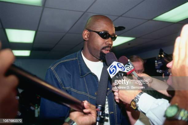 Antoine Carr of the Utah Jazz talks to the media during Game Four of the Western Conference Semifinals as part of the 1997 NBA Playoffs on May 10...