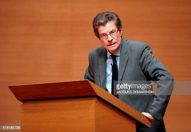Antoine Compagnon literature professor at the College de France speaks on March 17 2016 at the College de France in Paris during Congolese author...