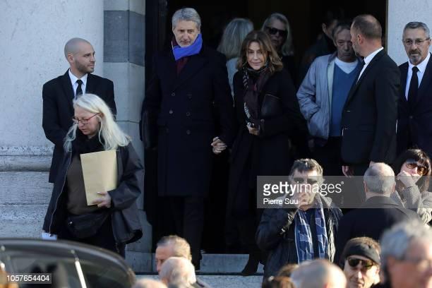 Antoine De Caunes and Daphne Roulier aattend the funerals of Philippe Gildas at Cimetierre du Pere Lachaise on November 5 2018 in Paris France