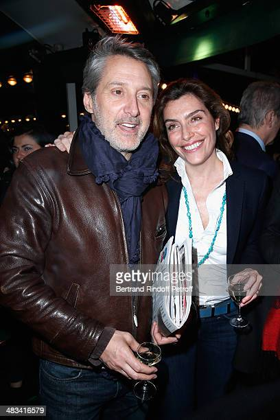Antoine de Caunes and Daphne Roulier attend 'La Closerie Des Lilas Literary Awards 2014 7th Edition' at La Closerie Des Lilas on April 8 2014 in...