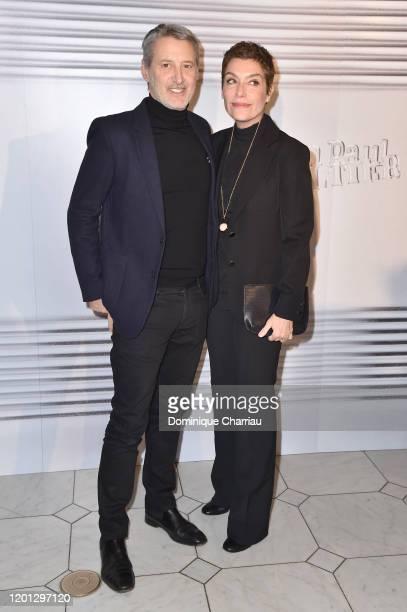 Antoine de Caunes and Daphne Roulier attend the Jean-Paul Gaultier Haute Couture Spring/Summer 2020 show as part of Paris Fashion Week at Theatre Du...